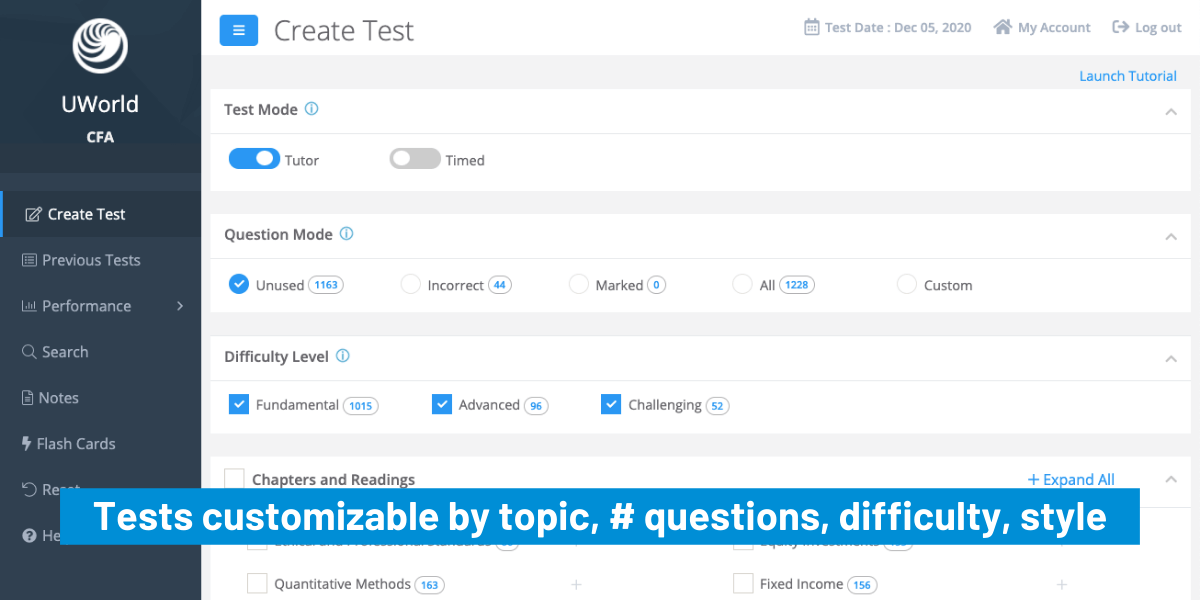 UWorld CFA Provider's tests are customizable by topic, questions, difficulty, style