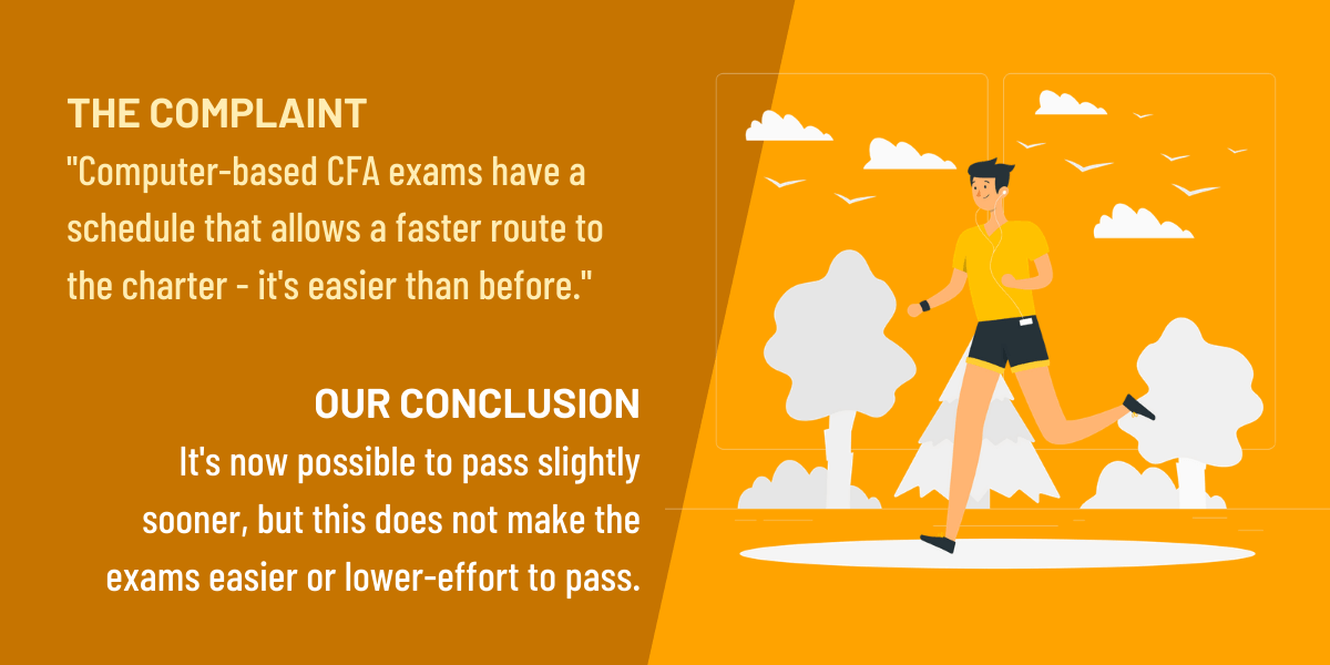 Computer-based CFA exams allow a faster route to pass and so is less valuable