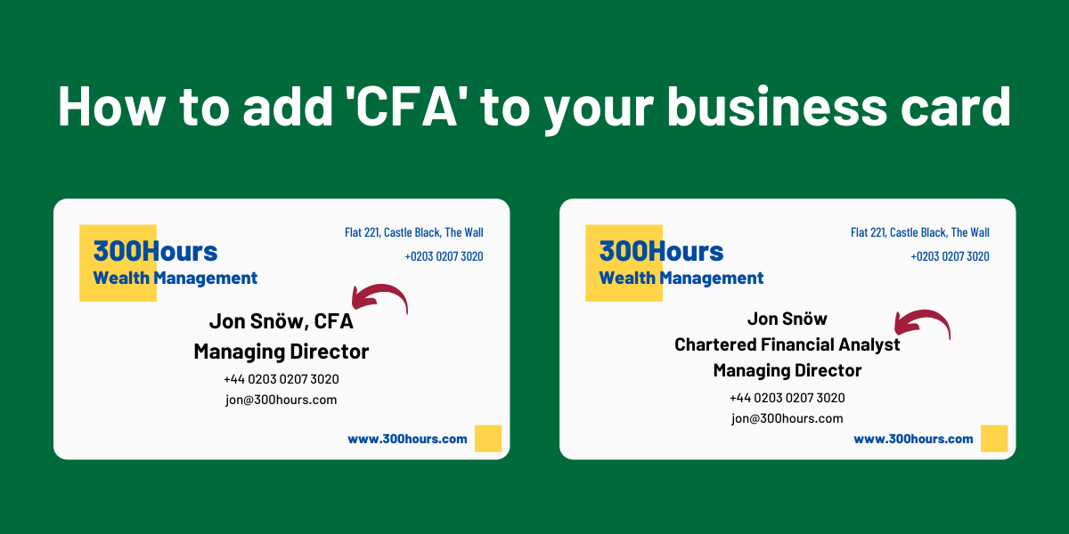 How to add CFA to your Business Card