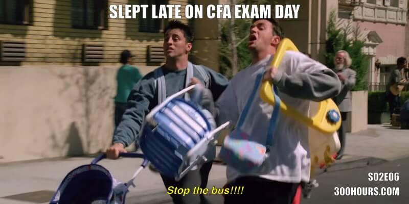 CFA Friends Memes: Late for CFA Exam