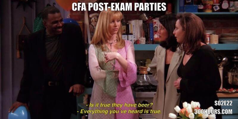 CFA Friends Memes: Post Exam Parties