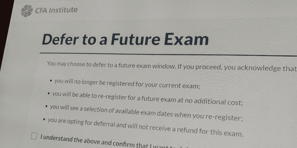 Defer to Future Exam Screenshot