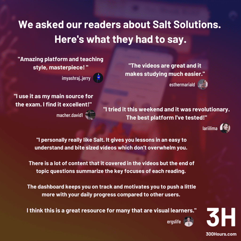 Salt Solutions CFA candidate reviews 300Hours